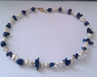 blue lapis and pearl bead necklace