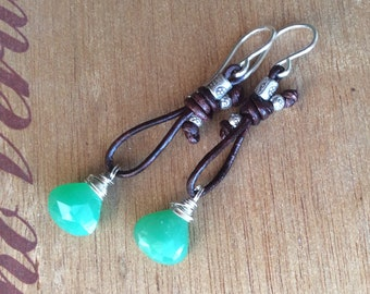Chrysoprase Leather and Hills Tribe Dangle Earrings
