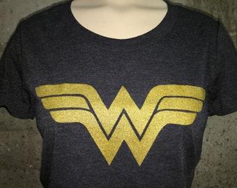 Charcoal Black W/Gold Wonder Woman Tee