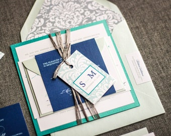 Beach Wedding Invitations, Floral Invitation Suite, Shades of Blue Destination Invite, Peacock, Navy, Grey - Classic Romance FP-1L-v2 SAMPLE