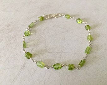 Natural Green Peridot and Sterling Silver Bracelet August Birthstone Bracelet