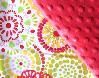 Baby Car Seat Canopy COVER or NURSING Cover: Bright Girly Color Bursts with Rose Pink Minky, Personalization Available