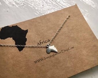 Africa Necklace, African Necklace, Continent Necklace, Africa Charm Necklace, Continent Jewelry,Mothers Day Gift