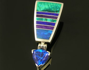Topaz pendant inlaid with Australian opal, lapis, sugilite and chrysocolla in sterling silver by Hileman