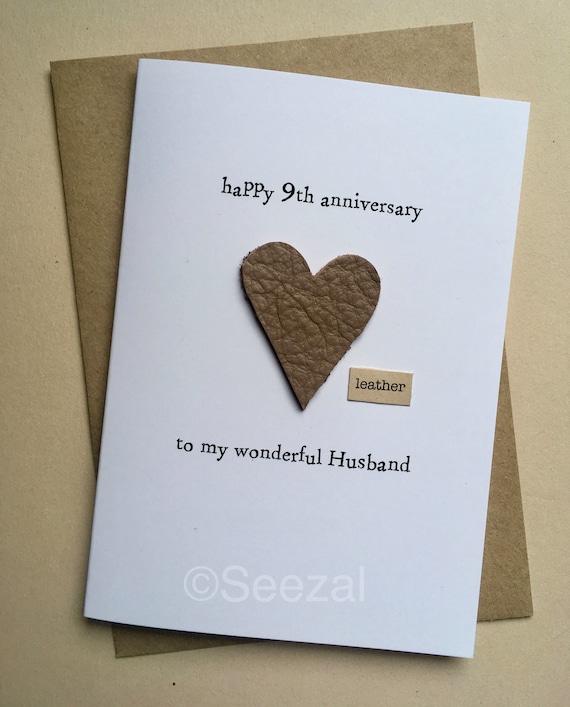 9th Wedding Anniversary Gift Leather: 9th Wedding Anniversary Card HUSBAND Modern US Gift LEATHER