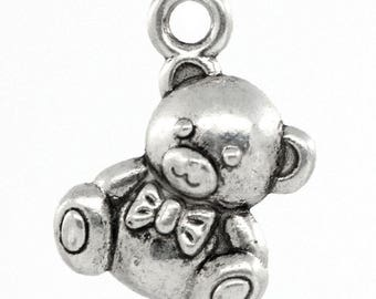 5 small bear charm pendant engraved CADMIUM-free zinc alloy