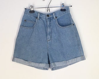 Vintage High Waisted Light Blue Denim Lizwear Mom Shorts Cutoffs 1990s 1980s