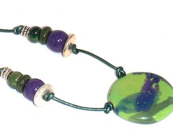 Green and Purple Splash Kazuri Pendant Necklace