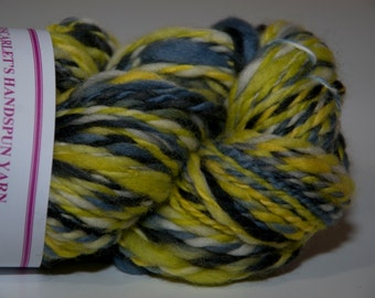 Merino Handspun Yarn in Shades of Yellow, Grey and Black 95g/134yds