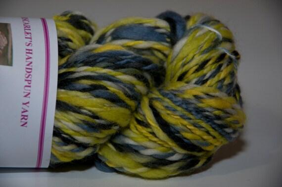 Merino Handspun Yarn in Shades of Yellow, Grey and Black 95g/134yds