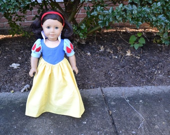 18 inch Doll Clothes -  Princess Dress - Forest Fancy - Yellow Red Blue - MADE TO ORDER - fits American Girl