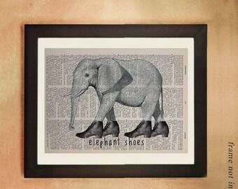 SALE--ship June 25-- Elephant Dictionary Art Print, Whimsical Elephant with Shoes Wildlife Animal Wall Art Decor Fine Vintage da458