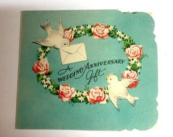 Vintage 1940s Wedding Anniversary Card Unused Vintage Anniversary Card Mini Anniversary Card Gift Enclosure Card
