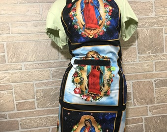Our Lady of Guadalupe, Apron , Virgin Of Guadalupe Apron, Virgen De Guadalupe lover, Delantal con la Virgen De Guadalupe, Navy apron