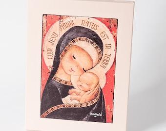 Black capped Virgin. Canvas print mounted in frame. Reproduction numbered of Juan Ferrandiz's work