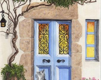 Original Painting Greek Door