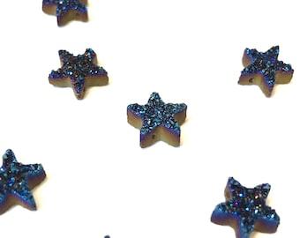 Blue star druzy pendant