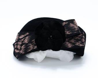 Vintage Black Pillbox Hat with Velvet Flower: 'Erika'
