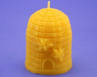 Beehive Candle, Beeswax Candle, 2.8 x 3 Bee Hive Pillar Candle, Pure Beeswax Candle,  Honeybee Candle, Bee Hive Skep Candle