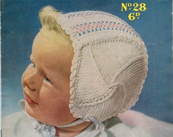 Sirdar Sunshine 28 Vintage Knitting Pattern Bonnets - Five Patterns for 6 to 12 months