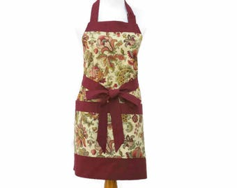 Womens Maroon Floral Apron, Large Pocket Apron, Floral Maroon Kitchen Apron, Personalized Apron, Floral Cooking Apron, Gift for Mom