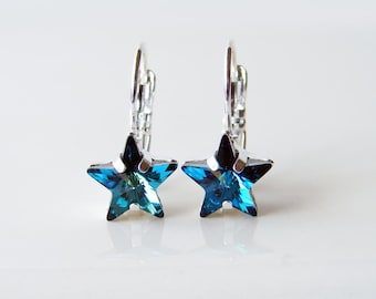 Star Earrings. Swarovski Bermuda Blue Star Silver Plated Earrings. Simple Modern Jewelry by Smallbluethings