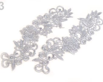 2 Lace Yoke Applique 7.5x25.5 cm