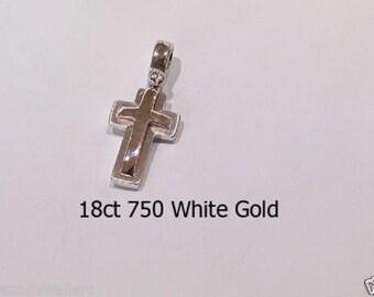 18ct 750 White Gold Crucifix Cross Pendant Jewellery Genuine NEW