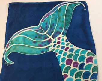 Hand painted silk handkerchief, mermaid scarf, blue scarf, green scarf, nautical