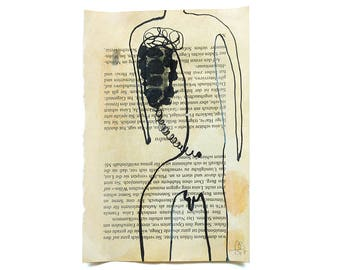 gut instinct, ORIGINAL figurative ink drawing on recycled paper, small art