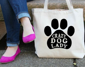 Crazy Dog Lady XL Canvas Tote Bag