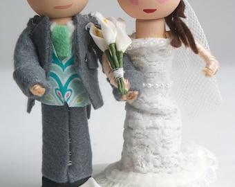 Customized, Handmade, Bride & Groom, Wooden Peg Doll, Wedding Cake Topper