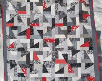 Study in Black, White & Gray Quilt, Handmade, Throw Quilt, Napping Quilt, Modern Quilt