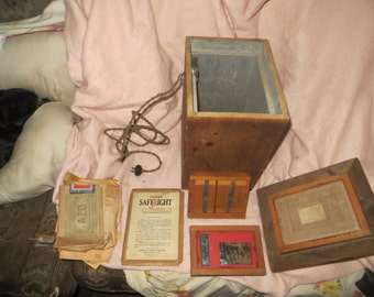 1900s  Antique EASTMAN kodak PHOTO EQUIPMENT Film Developing Wooden Box rare  old photography