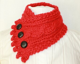 Bulky Knit Cowl, Neck Warmer, Cowl, Fishermans Wife Cowl, Womens Cowl, Valentines Gift Idea,  Chunky Knit Cowl, Claret (Red)