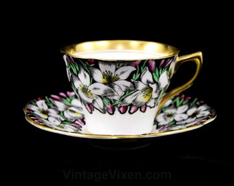 Tea Cup & Saucer - Tiger Lily - Spring Lilies - White Pink Green - Rosin Bone China England Teacup - British Tea Party - Gilt Trim - R2101