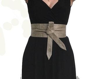 Distressed Leather Obi Belt, Wide Wrap Tie Urban Belt, Wraparounds Sash Belts