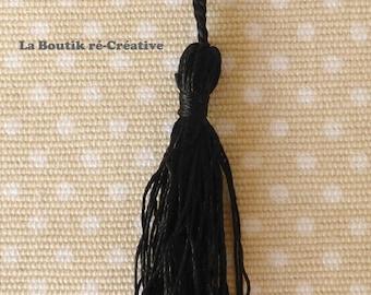 Lot 5 large PomPoms 12.5 cm black satin fabric