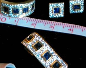 Unique 18ct Genuine Diamond Sapphire jewellery Luxury gift set Valued at 9675 dollars