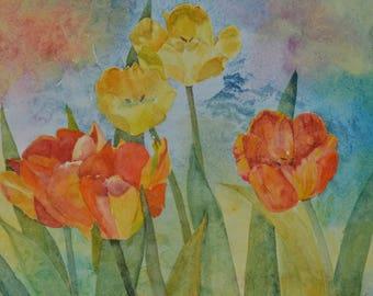 Tulips in the Sun watercolor painting original floral painting orange tulips flower art tulip painting fine art painting Terri Robertson
