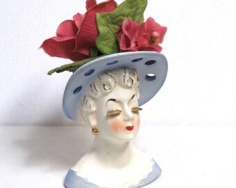 "IRICE Lady Head Vase 4.25"" / Gold Eyelashes, Pastel Blue Hat/ Made in Japan #111"