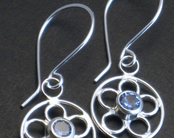 Sterling Silver and Aquamarine Flower Earrings