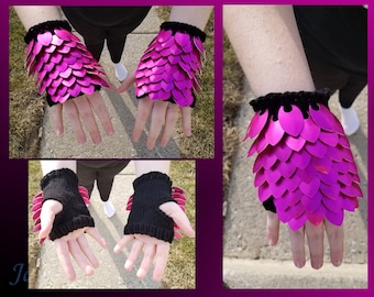 Pink Small Knitted Scalemail Gauntlets on Black Yarn - JayeCreations