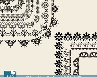 Lace Page Borders - Digital Clipart / Scrapbooking card design, invitations, paper crafts, web design - INSTANT DOWNLOAD