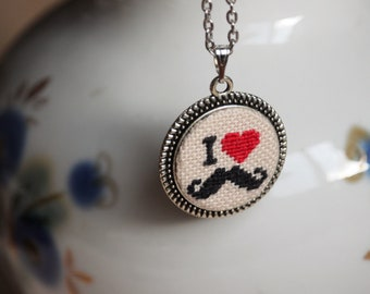 I love mustache pendant Hipster jewelry Red heart Black mustache necklace Funny gift Minimalist jewelry Gift for boyfriend Mustache party