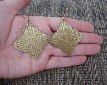 "Vintage Brass Tone Etched Celtic Design Earrings, 1 7/8"" Long"