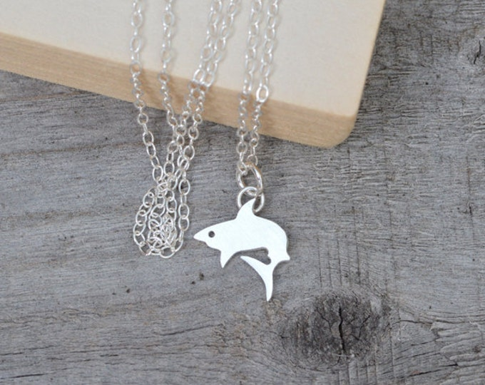 Shark Necklace In Sterling Silver, Cute Animal Necklace