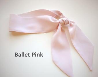 """Ballet pink silk neckerchief is 33""""x 2"""". Pastel pink neck scarf. Silk kerchief. Silk bandana scarf. Choker scarf. Silk headband. Twilly."""
