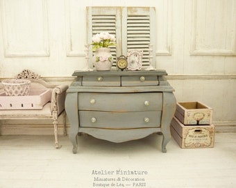 Doll House, Scale 1/12, Doll Furniture, Wooden Miniature, Two-tone Chest of Drawers, Louis 15th Style,, Medium Gray, Gray Anthracite