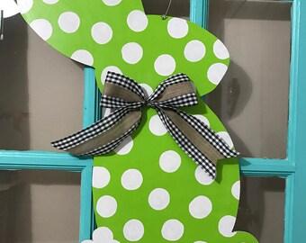 Lime Green Polka Dot Easter Bunny Door Hanger